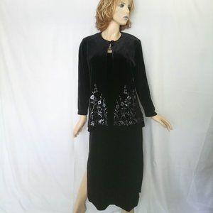 RONNI NICOLE Evening 2 PC Velvet Dress/Blazer 12